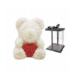 Ursulet Floral Alb cu Inimioara Rosie + Cutie Cadou 25 cm