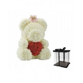 Ursulet Floral Alb cu Inimioara Rosie + Cutie Cadou 40 cm