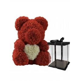 Ursulet Floral Rosu cu Inimioara Alba + Cutie Cadou, 40 cm