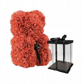 Ursulet Floral Rosu cu fundita + Cutie Cadou, 25 cm