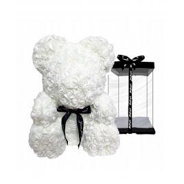 Ursulet floral Alb cu fundita + Cutie Cadou, 25 cm
