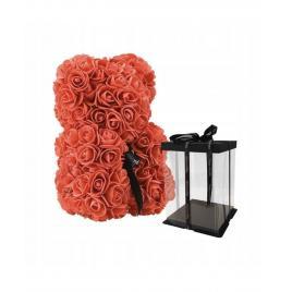 Ursulet floral Rosu cu fundita + Cutie Cadou, 40 cm