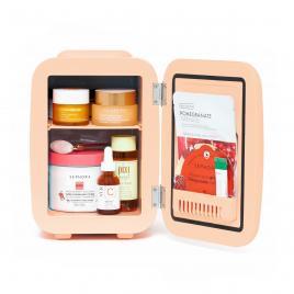 Mini frigider cosmetice Soft Peach, Meloni, dubla functie de incalzire/racire, 4L