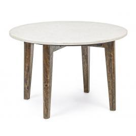 Masuta cafea blat marmura alba picioare lemn sylvester Ø 60 cm x 40 h