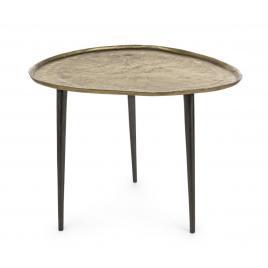 Masuta cafea cu blat metal auriu vintage picioare fier negru karima 60 cm x 55 cm x 45 cm