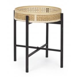 Masuta cafea pliabila cu blat rattan natur picioare fier negru elyot Ø 40 cm x 42 h