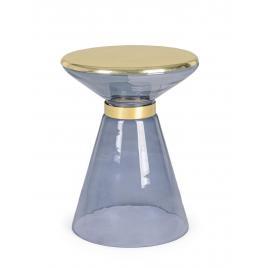Masuta cafea sticla albastra aurie meriel Ø 36 cm x 46 h