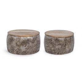 Set 2 masute metal argintiu vintage cu blat lemn natur kalindi Ø 51 cm x 28 h; Ø 60 cm x 30 h