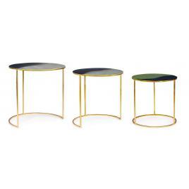 Set 3 masute cafea metal auriu desur Ø 40 cm x 40 h; Ø 45 cm x 45 h; Ø 50 cm x 51 h