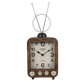 Ceas de masa din metal maro model radio retro
