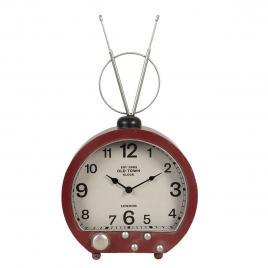 Ceas de masa din metal visiniu model radio retro