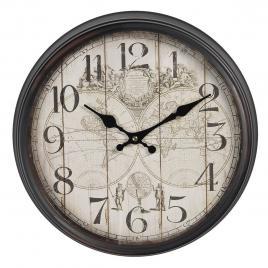 Ceas de perete cu rama din metal maro harta lumii