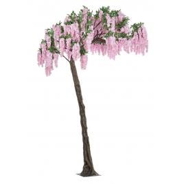 Copac decorativ cu flori artificiale roz wisteria 200 cm x 320 h