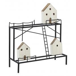 Decoratiune de masa din lemn alb natur si metal negru housing