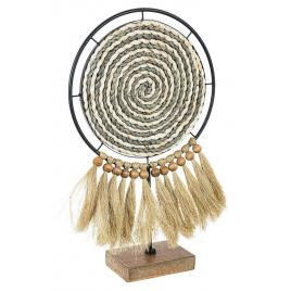 Decoratiune de masa lemn si textil turkana 30 cm x 10 cm x 51 h