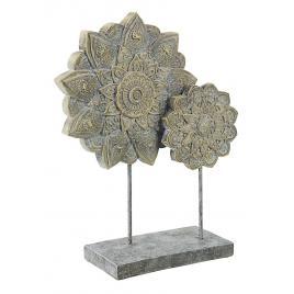 Decoratiune de masa polirasina gri cu patina aurie yoma 28.5 cm x 10.5 cm x 37 h