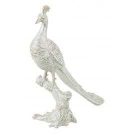 Figurina polirasina alba cu patina aurie paun 30.5 cm x 13.5 cm x 38 h