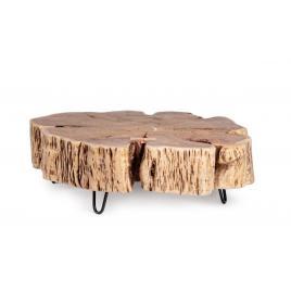 Masuta cafea cu picioare fier negru blat lemn natur eneas 90 cm x 90 cm x 30 h