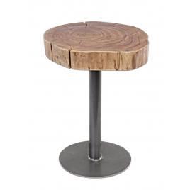 Masuta cafea cu picior fier negru si blat lemn natur benson Ø 35 cm x 45 h