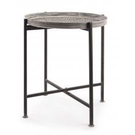 Masuta cafea picioare plaibile fier negru cu blat mdf anil Ø 42 cm x 48 h