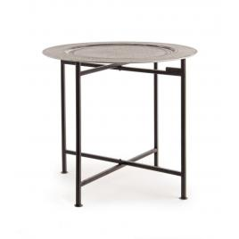 Masuta cafea picioare plaibile fier negru cu blat mdf anil Ø 50 cm x 45 h