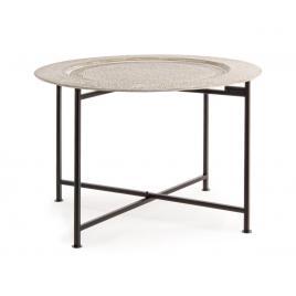 Masuta cafea picioare pliabile fier negru cu blat mdf crem anil Ø 60 cm x 42 h
