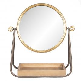 Oglinda de masa cu rama din metal auriu maro si tava din lemn natur