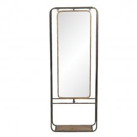 Oglinda de perete cu rama din fier negru auriu cu polita din lemn 42 cm x 16 cm x 112 cm