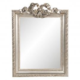 Oglinda de perete cu rama din lemn argintiu