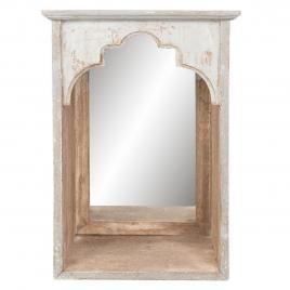Oglinda de perete cu rama din lemn natur gri antichizat 31 cm x 21 cm x 45 cm
