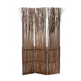 Paravan decorativ lemn maro si crengi salcie 120 cm x 2.5 cm x 180 h