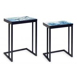 Set 2 masute cu cadru din fier negru si blat mdf reef 40.5 cm x 30 cm x 56 h; 45.5 cm x 33 cm x 62.5 h