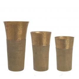 Set 3 vaze metal auriu antic hammel  Ø 16.5 cm x 34 h
