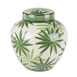 Vas decorativ portelan alb verde tropic Ø 23 cm x 24 h