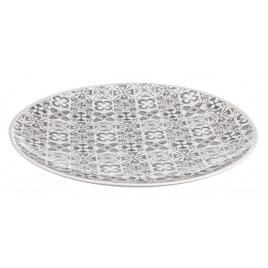 Platou decorativ din ceramica alb gri ares Ø 40 cm x 4.5 h