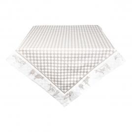 Fata de masa din bumbac carouri crem alb 100 cm x 100 cm