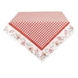 Fata de masa din bumbac alb rosu 100 cm x 100 cm