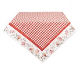 Fata de masa din bumbac alb rosu 150 cm x 150 cm