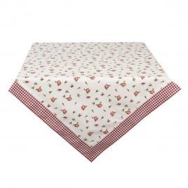 Fata de masa din bumbac alb rosu roses 150 cm x 150 cm
