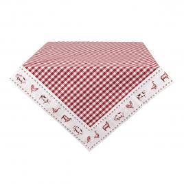Fata de masa din bumbac rosu alb 100 cm x 100 cm
