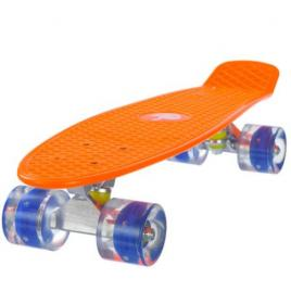 Penny Board, Street Cruiser, cu roti din silicon, cu lumini LED, portocaliu, 56 x 15 x 10 cm