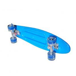 Penny board portabil cu roti luminoase, Albastru, 56 cm, eduBEBE,M9-2D