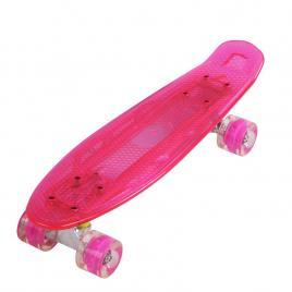 Penny board portabil cu placa si roti luminoase, roz, 56 cm, eduBEBE, N323