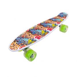 Penny board portabil cu roti luminoase, graffiti, multicolor, 56 cm, Olimp