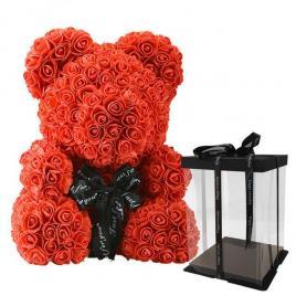 Ursulet din Trandafiri Rose Bear Decorat Manual, inaltime 25cm - Rosu
