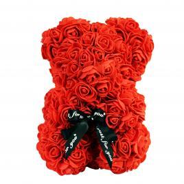 Ursulet din Trandafiri de spuma Rosu, Rose Bear, Decorat manual, inaltime 25 cm, Cutie Transparenta