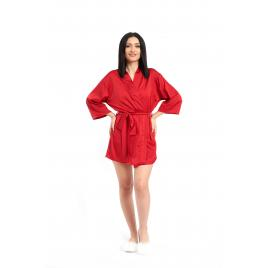 Halat si Pijama Divide din Satin de Matase Rosu, S