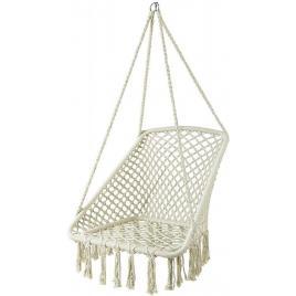 Leagan balansoar dreptunghiular suspendat pentru casa sau gradina, cu franjuri, 150kg, alb