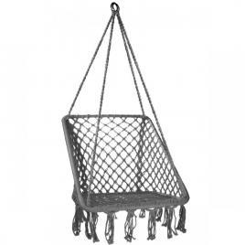 Leagan balansoar dreptunghiular suspendat pentru casa sau gradina, cu franjuri, 150kg, gri