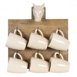 Set 6 cani din ceramica crem cu suport de perete din lemn maro 33  cm x 9 cm x 35 h